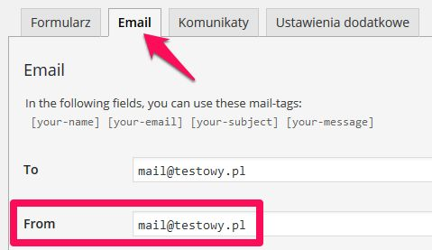 Ustawienia email formularza Contact Form7
